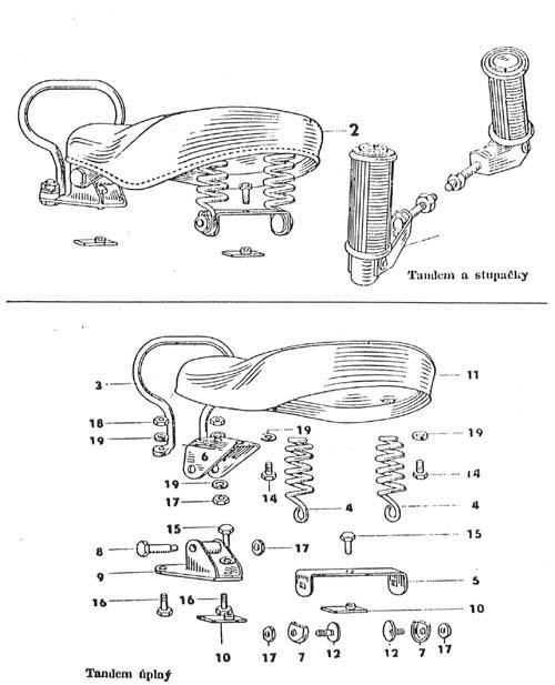 Držák tandemu - Pérák - koženkový potah